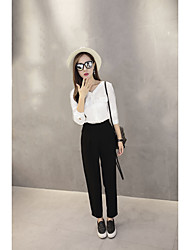 Women's High Rise Micro-elastic Business Pants,Simple Straight Solid