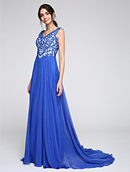 A-Line V-neck Court Train Chiffon Formal Evening Dress with Appliques by TS Couture®