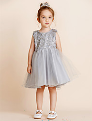 Princess Knee Length Flower Girl Dress - Cotton Sleeveless Jewel Neck
