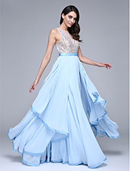 A-Line Jewel Neck Floor Length Chiffon Prom Formal Evening Dress with Beading Sash / Ribbon by TS Couture®