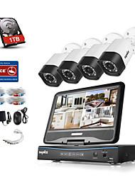 Sannce® 8ch 4pcs 720p защищенная от непогоды система безопасности 4in1 1080p lcd dvr поддерживается tvi аналоговый ahd ip camera 1tb hdd