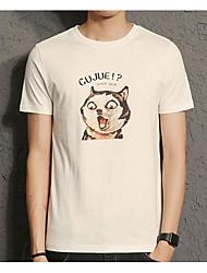 Damen Hund Buchstabe Einfach Normal T-shirt,Rundhalsausschnitt Sommer Kurzarm Baumwolle Mittel