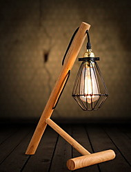 Modern Simple Stent Logs Solid Wood Table Lamps With Small Iron Cages