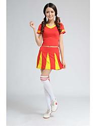 Costumes de Pom-Pom Girl Tenue Femme Spectacle Fibre de Lait Plissé Fantaisie 2 Pièces Manche courte Taille haute Jupes Hauts