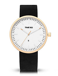 Men's Fashion Watch Quartz Genuine Leather Band Black Grey