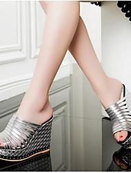 Women's Sandals Comfort PU Spring Summer Casual Comfort Rainbow Silver 2in-2 3/4in