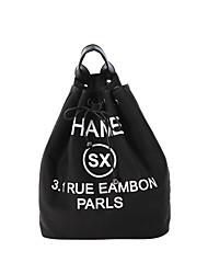 Mulher sacos de balde Couro Ecológico Todas as Estações Casual Outros Com Cordão Branco Preto