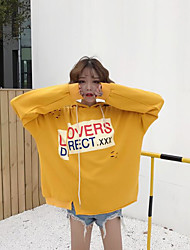 Women's Daily Hoodie Solid Letter & Number Hooded Micro-elastic Cotton Long Sleeve Spring