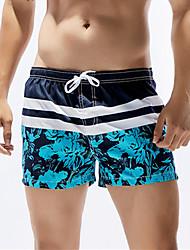 Hot! 8 Colors Fashion Men's One-piece Lace Up Color Block Sport Mesh Solid  Mesh Plant Pattern Beachwear Swimwear