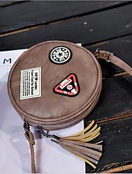 Mulher Bolsa de Ombro Couro Ecológico Todas as Estações Casual Forma Cilindrica Magnético Preto Cinzento Escuro Marron