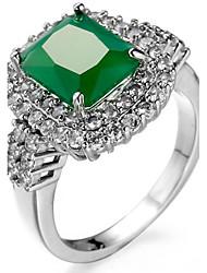 Ring Settings Ring  Luxury Elegant Noble Zircon Square 2 Colors  Women's  Rhinestone Euramerican Fashion Birthday Wedding Movie Gift Jewelry