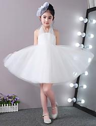 Princesse courte / mini robe de fille fleur - tulle satiné tulle sans manches avec lacets par lan ting bride®