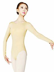 Ballet Leotardos Mujer Entrenamiento Poliéster 1 Pieza Mangas largas Cintura Alta Leotardo