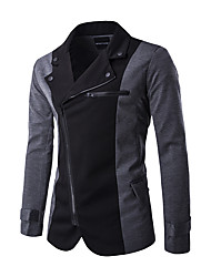 Men's Casual/Daily Street chic Winter Blazer,Color Block Shirt Collar Long Sleeve Regular Polyester