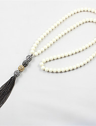 Lureme Fashion White Beaded with Black Tassel Long Necklace