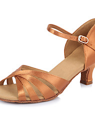 2017 Classic Brand Modern Latin Sandals Customizable Women's Dance Shoes  Heeled 6.5CM shoes Satin Darkbrown