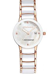 Mulheres Relógio de Moda Quartzo Cerâmica Banda Branco