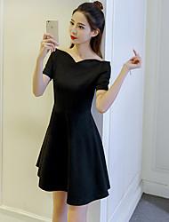 Feminino Rodado Vestido,Para Noite Casual Simples Fofo Sólido Ondulado Altura dos Joelhos Manga Curta Náilon Chinês Verão Cintura Alta