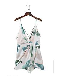 Feminino Tubinho Bainha Vestido,Para Noite Casual Simples Moda de Rua Floral Estampado Jacquard Com Alças Acima do Joelho Sem Manga