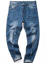 Masculino Activo Cintura Média Elástico Jeans Chinos Calças,Delgado Sólido