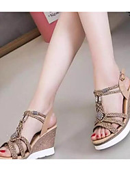 Women's Sandals Comfort PU Summer Casual Comfort Light Brown White 3in-3 3/4in