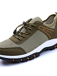 Men's Sneakers Hiking Comfort Ankle Strap Light Soles Tulle Spring Fall Casual Outdoor Lace-up Flat Heel Black Gray Blue Khaki Flat