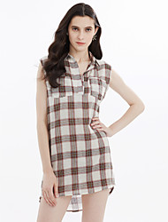 Women's Beach Holiday Going out Casual/Daily Sexy Simple Cute Shift Dress,Plaid/Check Shirt Collar Above Knee Sleeveless 100%CottonSpring