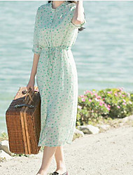 Women's Casual/Daily Simple Chiffon Dress,Floral Print Round Neck Midi Long Sleeve Others Summer Mid Rise Micro-elastic Medium