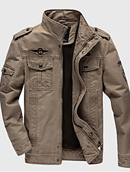 Men's Casual/Daily Simple Fall Winter Jacket,Solid Stand Long Sleeve Regular Cotton Others