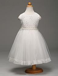 Бальное платье длиной до колена цветок девушка платье - тюль без рукавов жемчужина шеи с жемчугом