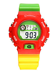 Kid's Sport Watch Digital Water Resistant / Water Proof Noctilucent Rubber Band Multi-Colored