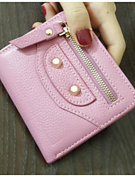 Women Card & ID Holder PU All Seasons Casual Outdoor Square Zipper Almond Blushing Pink Black