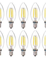 4W Ampoules à Filament LED C35 4 COB 350 lm Blanc Chaud Blanc Décorative AC 100-240 V 10 pièces