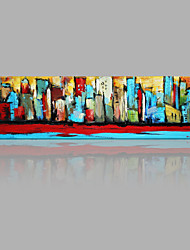 IARTS Hand Painted Modern Abstract Landscape Painting Colorful City Wall Art For Home Decor Stretchered Ready To Hang