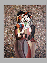 Hand-Painted People Square,Modern Style One Panel Canvas Oil Painting For Home Decoration