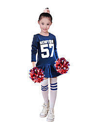 Costumes de Pom-Pom Girl Robes Enfant Spectacle Polyester 1 Pièce Manche longue Taille haute Robes