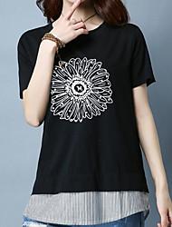 Damen Gestreift Einfach Alltag T-shirt,Rundhalsausschnitt Sommer Kurzarm Baumwolle Andere