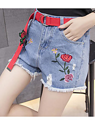 Women's Medium Waist strenchy Jeans Shorts Pants,Sexy Active Cute Straight Denim Solid Embroidery