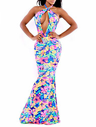 Women's Summer Floral Print Halter Neck Dress Party Backless Trumpet Mermaid Maxi