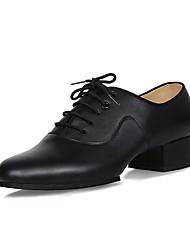 Men's Latin Indoor Real Leather Cowhide Heels Professional Black