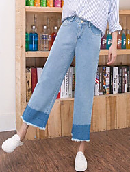 Women's Mid Rise Inelastic Jeans Pants,Simple Relaxed Solid