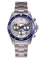 Homens Relógio de Moda Quartzo Aço Inoxidável Banda Prata