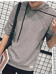 Men's Daily Simple Summer T-shirt,Solid Hooded Short Sleeve Cotton Medium