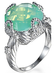 Ring Women's Euramerican Luxury Square Cut Imitation Emerald  Ring Daily Party  Movie Business Gift Jewelry