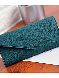 Women Checkbook Wallet PU All Seasons Casual Square Clasp Lock Gray Green Blushing Pink