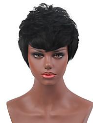 Fluffy  High Quality Black Short Hair  Human Hair Wigs  For Women