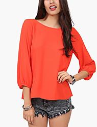 Women's Street Street chic Summer Blouse,Solid Round Neck Long Sleeve Chiffon Medium