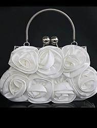 Women Tote Silk Spring All Seasons Wedding Round Floral Kiss Lock Black White Champagne