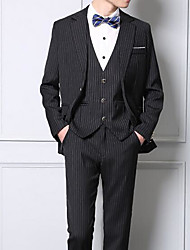 Men's Work Simple Spring Fall Suit,Solid Striped Peaked Lapel Long Sleeve Short Cotton Others
