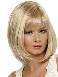 Femme Perruque Synthétique Sans bonnet Mi Longue Raide Blond Perruque Naturelle Perruque Déguisement